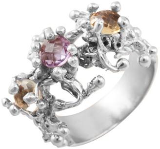 Adami & Martucci Sterling Silver Multicolored Amethyst & Lemon Quartz Ring