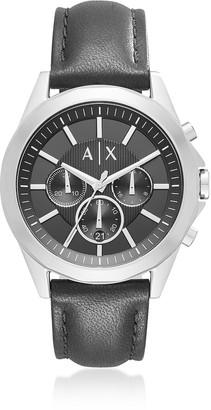 Armani Collezioni Armani Exchange Drexler Black Dial With Black Leather Mens Chronograph Watch