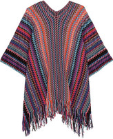 Missoni Fringed Metallic Crochet-knit Poncho - Purple