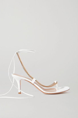Gianvito Rossi 70 Chain-embellished Leather Sandals - White