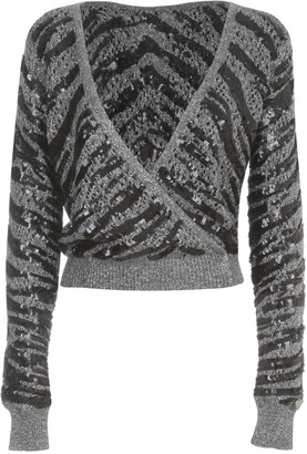 Twin-Set TwinSet Sweater V Neck In Front And On Back W/paillettes