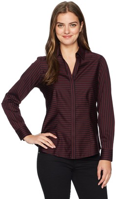 Foxcroft Women's Plus Size Long Sleeve Ellen Sateen Stripe Non Iron Shirt
