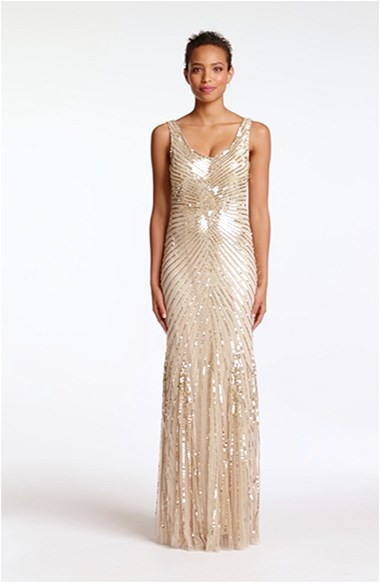 Aidan Mattox Sequin V-Back Mesh Gown (Online Only)