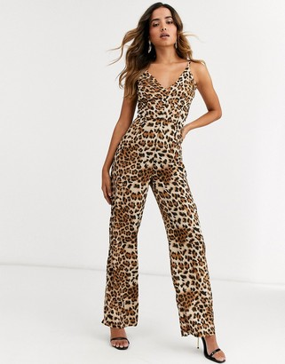 AX Paris v neck jumpsuit in leopard print