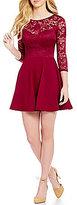 B. Darlin Lace Bodice Illusion Yoke A-Line Dress