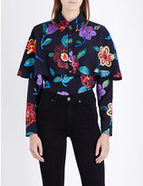 Burberry Floral-jacquard silk-blend top