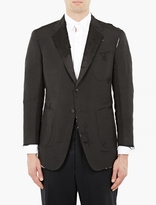 Thom Browne Black Destroyed Silk Blazer