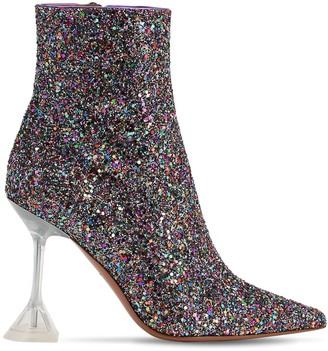 Amina Muaddi 100mm Giorgia Glittered Boots