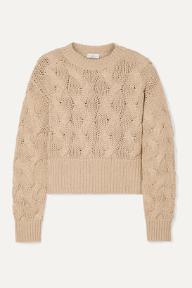 Brunello Cucinelli Cropped Cable-knit Wool-blend Sweater - Camel
