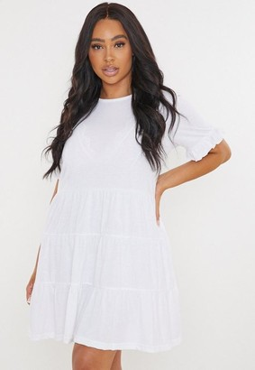Missguided Plus Size White Frill Tiered Smock Dress
