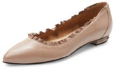 French Sole Garnet Leather Pointed-Toe Flat