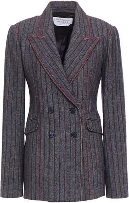 Gabriela Hearst Angelea Double-breasted Embroidered Pinstriped Herringbone Wool-blend Blazer