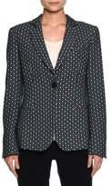 Giorgio Armani Single-Breasted Dot-Jacquard Jacket, Blue Ombre/Off White
