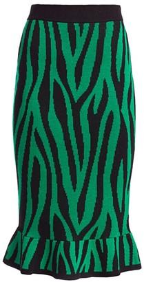 Victor Glemaud Zebra Print Knit Midi Skirt