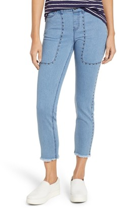 Zeza B High Waist Studded Denim Raw Hem Skimmer Leggings