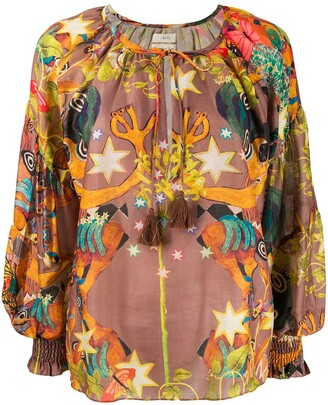 CHUFY Oversized Abstract Print Blouse