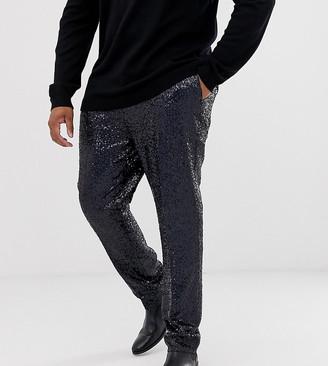 ASOS DESIGN Plus super skinny smart trousers in black sequin