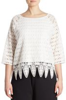 Joan Vass Plus Size Crocheted Blouse