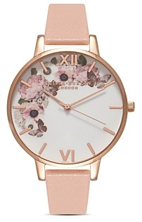 Olivia Burton Signature Florals Dusty Pink Leather Strap Watch & 3D Butterfly Stud Earrings Gift Set, 38mm