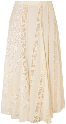 Chloé Lace-paneled Silk Crepe De Chine Midi Skirt