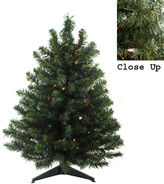 Asstd National Brand 3' X 24 Pre-Lit Natural Two-Tone Pine ArtificialChristmas Tree with Multi-Color Lights