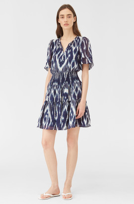 Rebecca Taylor Indigo Ikat Silk Dress