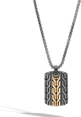 """John Hardy Men's Classic Chain Dog Tag Necklace with Rhodium & 18k Gold, 26"""""""