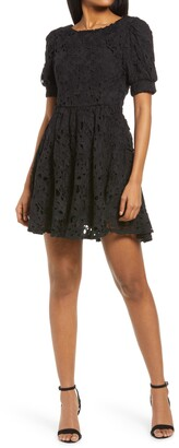Lulus For a Moment Floral Lace Cutout Minidress