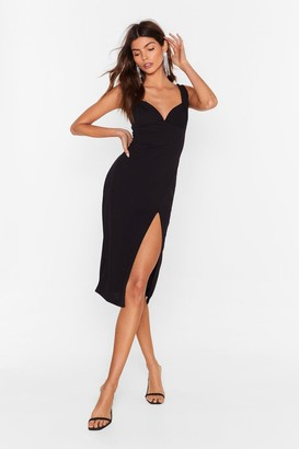 Nasty Gal Womens Black Fitted Midi Dress with Sweetheart Neckline
