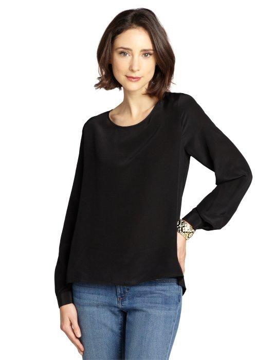 Wyatt black silk open back long sleeve blouse