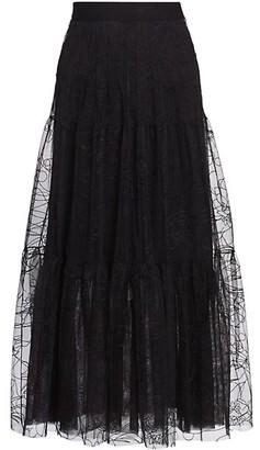 Akris Punto Sashiko Flower Embroidered Tulle Maxi Skirt