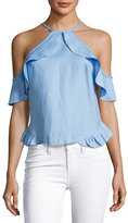 Karina Grimaldi Rocha Linen Ruffled Crop Top, Light