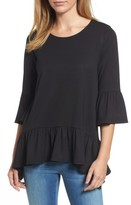 Gibson Women's Bell Sleeve Handkerchief Ruffle Top