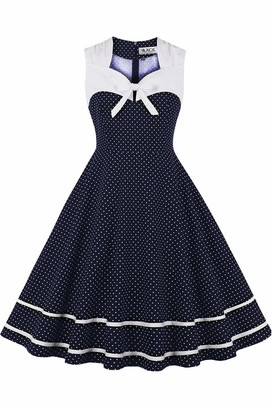 Axoe Womens Fancy 1950s Vintage Polka Dots Rockabilly Dress with Bowknot White Size 8