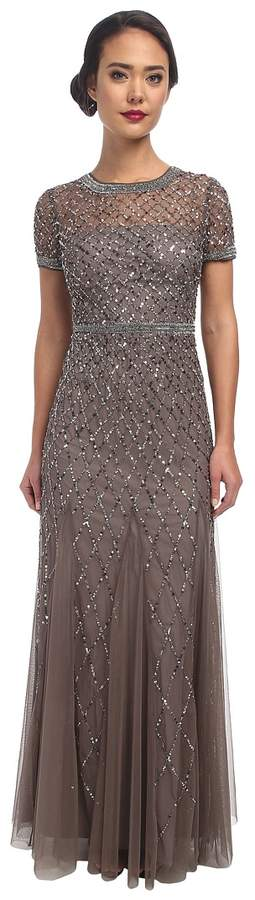 Adrianna Papell Cap Sleeve Fully Beaded Gown Women's Dress