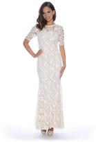 Decode 1.8 182949W Half-Sleeve Floral Lace Long Dress