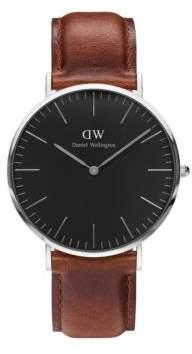 Daniel Wellington Crystal, Stainless Steel Leather Strap Watch