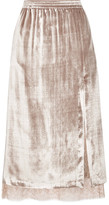 ADAM by Adam Lippes Velvet And Lace Midi Skirt - Metallic