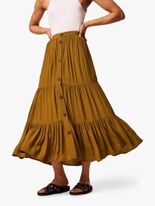French Connection Easha Button Maxi Skirt, Lizard Green