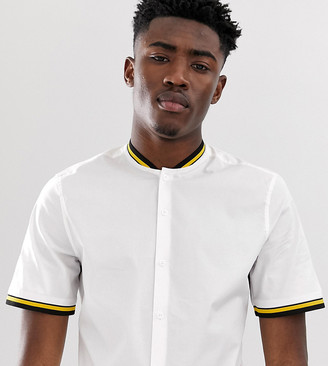 Asos Design DESIGN Tall skinny fit white shirt with rib collar and cuffs