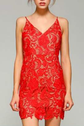 Minuet Red Flower Lace Short Formal Dress