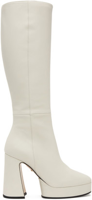 Gucci White Leather Knee-High Boots