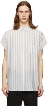 Maison Margiela White and Blue Striped Shirt