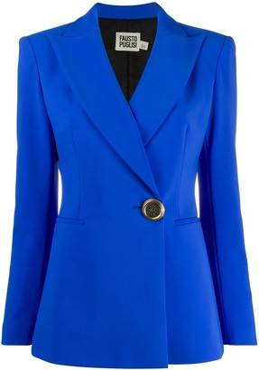 Fausto Puglisi Fitted Logo-Button Blazer