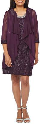 R & M Richards 3/4 Sheer Sleeve Embellished Jacket Dress-Petite