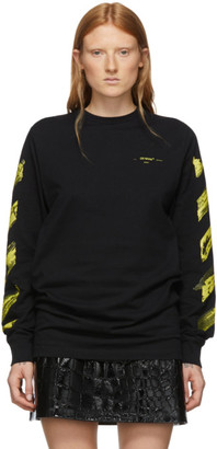 Off-White Off White SSENSE Exclusive Black and Yellow Acrylic Arrows Long Sleeve T-Shirt