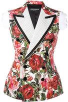 Dolce & Gabbana rose brocade jacket - women - Silk/Cotton/Goat Fur/Wool - 40