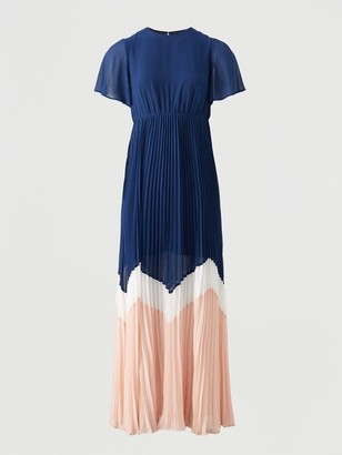Very Angel Sleeve Colour Block Maxi Dress - Navy