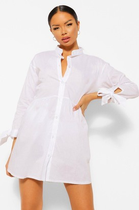 boohoo Petite Button Through Cotton Shirt Smock Dress