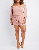 Charlotte Russe Plus Size Crochet-Trim Off-The-Shoulder Romper